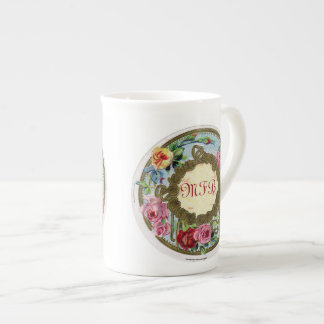 Monogrammed Antique French Rose Bone China Mug