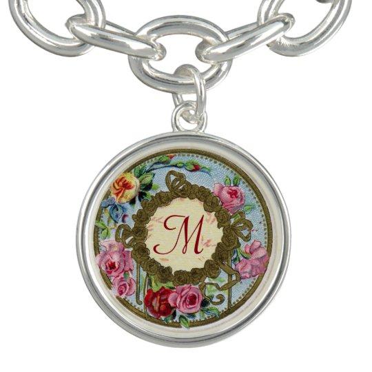 Monogrammed Antique French Rose Charm Bracelet