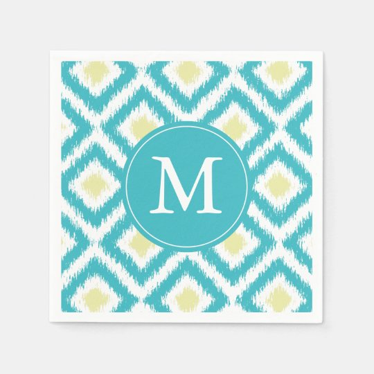 Monogrammed Aqua and Yellow Ikat Pattern Disposable Napkins