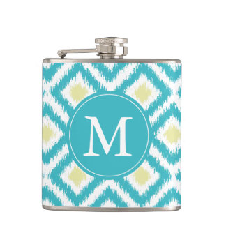Monogrammed Aqua and Yellow Ikat Pattern Hip Flask