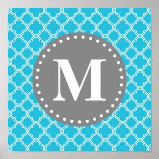 Monogrammed Aqua Blue Modern Quatrefoil Pattern Poster