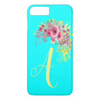 Monogrammed Aqua blue yellow and Boho floral Case-Mate iPhone Case