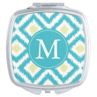 Monogrammed Aqua Lemon Diamond Ikat Pattern Vanity Mirror
