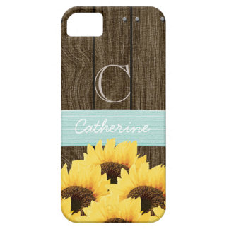 MONOGRAMMED AQUA RUSTIC SUNFLOWER iPhone 5 CASES