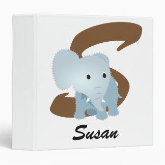 Monogrammed Baby Elephant w/ Name & Initial Binder