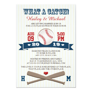 "Monogrammed Baseball Couples Wedding Shower 5"" X 7"" Invitation Card"