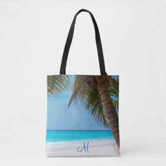 Monogrammed Beach Bags With Palm Trees
