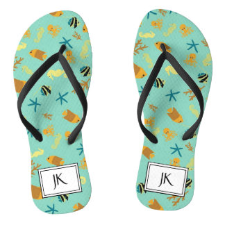 Monogrammed Beachy Seahorse Teal and Black Sandals