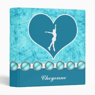 Monogrammed Beautiful Turquoise Figure Skater 3 Ring Binder