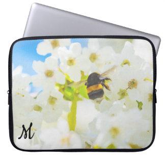 Monogrammed Bee in the Garden Laptop Sleeve