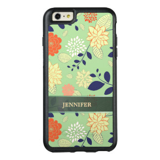 Monogrammed Beige Orange And White Flowers OtterBox iPhone 6/6s Plus Case