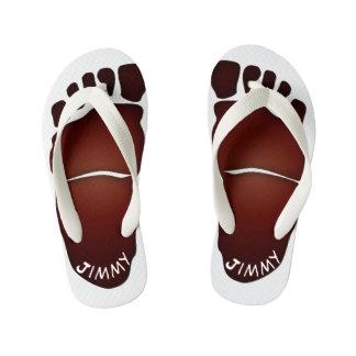 Monogrammed Big-Foot Footprints Toddler & Kids #2 Kid's Flip Flops