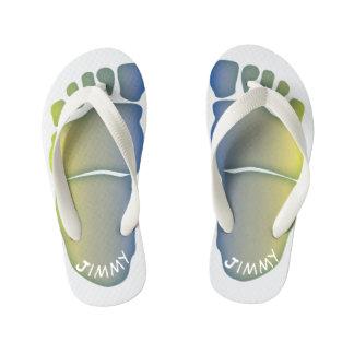 Monogrammed Big-Foot Footprints Toddler & Kids #4 Kid's Flip Flops