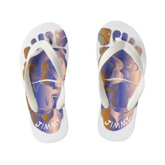 Monogrammed Big-Foot Footprints Toddler & Kids #5 Kid's Flip Flops