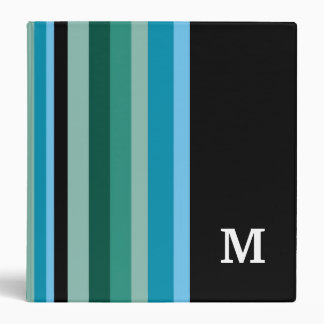 Monogrammed Binder ::Aqua Colors Stripes
