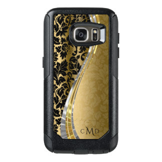 Monogrammed Black And Gold Floral Damask Pattern OtterBox Samsung Galaxy S7 Case