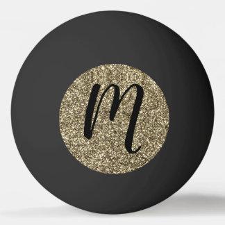 Monogrammed Black and Gold Glitter Elegant Ping Pong Ball