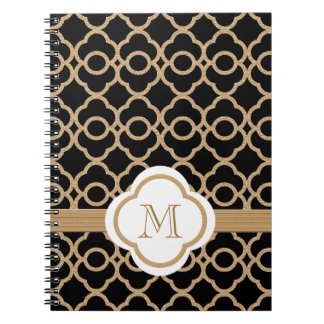 Monogrammed Black and Gold Moroccan Notebooks