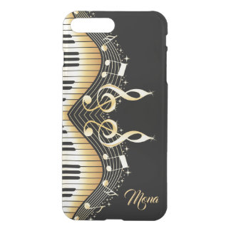 Monogrammed  Black And Gold Music Notes Design iPhone 8 Plus/7 Plus Case