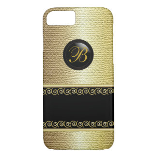 Monogrammed Black and Gold Texture iPhone 7 Case