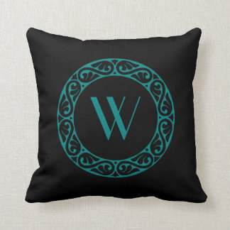 Monogrammed Black and Turquoise Celtic Knot Ring Throw Pillow