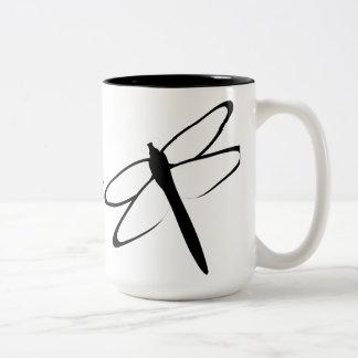 Monogrammed Black And White Dragonfly Mug