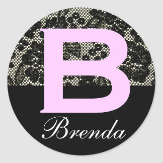 Monogrammed Black and White Letter B Sticker