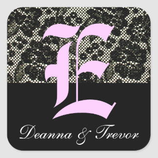 Monogrammed Black and White Letter E Sticker
