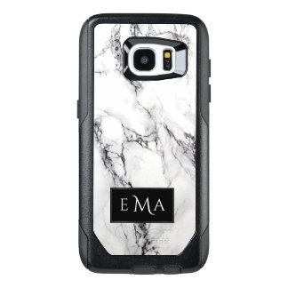 Monogrammed Black And White Marble Stone