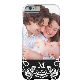 Monogrammed Black And White Pattern Custom Photo Barely There iPhone 6 Case