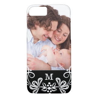 Monogrammed Black And White Pattern Custom Photo iPhone 7 Case