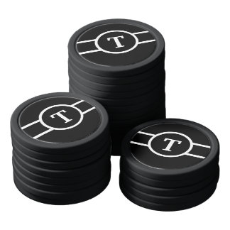 Monogrammed ~ Black and White Poker Chips