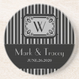 Monogrammed Black and White Stripes Coaster