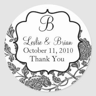 Monogrammed Black and White Wedding Stickers