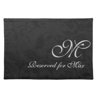 Monogrammed Black Damask Dog Personalized Placemats