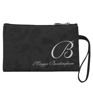 Monogrammed Black Damask with Name Wristlet Purses