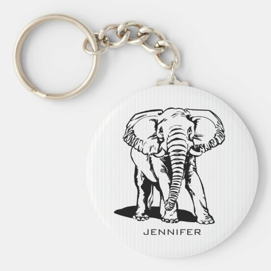 Monogrammed Black Elephant Basic Round Button Keychain