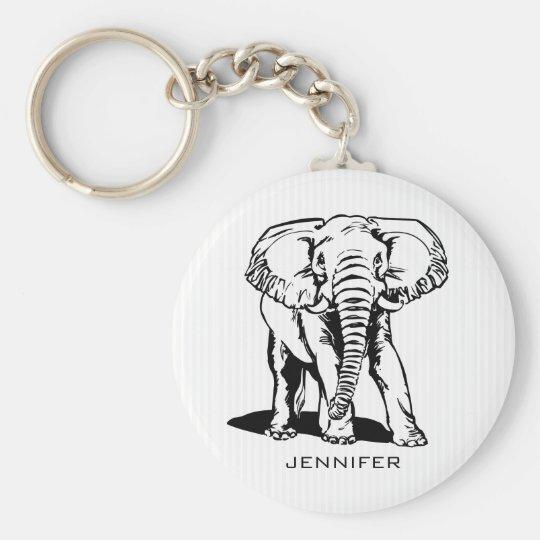 Monogrammed Black Elephant Keychain