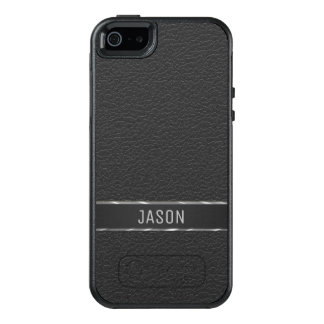 Monogrammed Black Faux Leather OtterBox iPhone 5/5s/SE Case