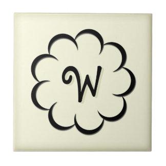 Monogrammed Black Flower on Pale Limeade Tile