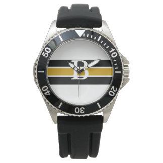 Monogrammed Black & Gold Striped Watch