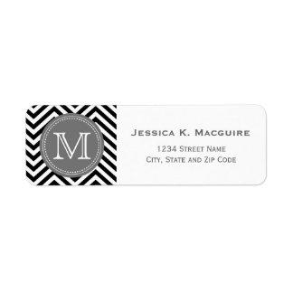 Monogrammed Black & Grey Chevron Return Address Label