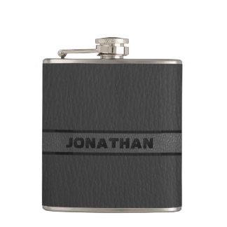 Monogrammed Black Leather Flasks