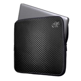 Monogrammed Black Metal Speaker Mesh Laptop Sleeve