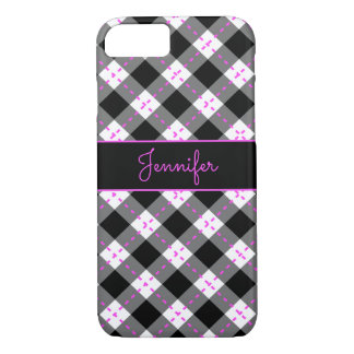 Monogrammed Black Pink n White Argyle iPhone 8/7 Case