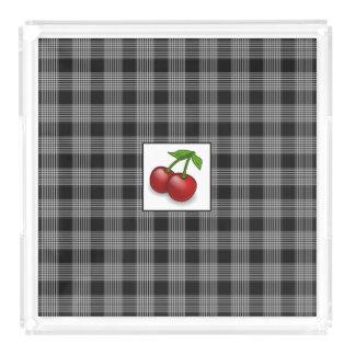 Monogrammed Black Plaid Cherries Serving Tray