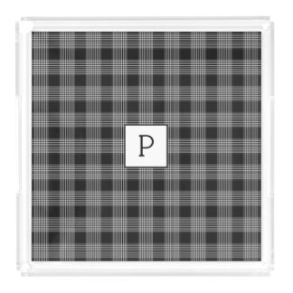 Monogrammed Black Plaid Serving Tray
