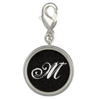Monogrammed Black Shimmer Charm