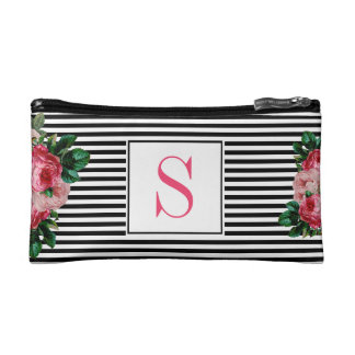 Monogrammed Black Striped and Floral Cosmetic Bag