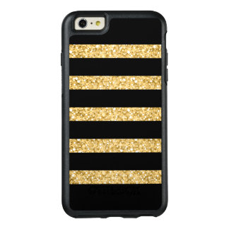 Monogrammed Black Stripes And Gold Glitter OtterBox iPhone 6/6s Plus Case